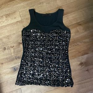 Festive black and gold sequins top